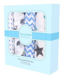 Mom's Home Cotton Muslin Swaddle Wrap Zigzag Dot Star and Monkey Print  Pack of 4 - Blue And Grey