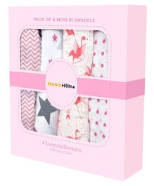 Mom's Home Organic Cotton Muslin Cloth Swaddle Zig Zag, Flamingo, Star, Dot Print - Pack of 4