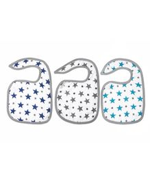 Haus & Kinder Cotton Muslin Triple Layered Bibs Twinkle Print Multicolor - Pack Of 3