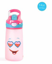 Rabitat Sipper Bottle With straw Pink Diva Print Pink - 410 ml