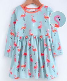 Crayonflakes Flamingo Print Full Sleeves Dress - Sea Green