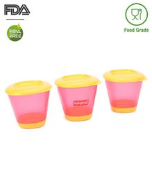Babyhug 150 ml Weaning Pots Set of 3 - Pink Yellow
