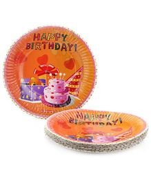 Karmallys Printed Paper Plates Happy Birthday Items Print - 19 cm