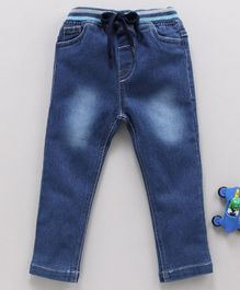 Cucumber Full Length Jeans With Drawstring - Light Blue