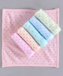 Simply Hand & Face Towels Polka Dot Print Pack of 6 - Multicolour