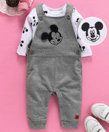 Fox Baby Full Sleeves Dungaree Style Romper With Onesie Tee Micky Mouse Print - Melange
