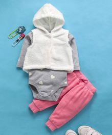Fox Baby Full Sleeves Onesie And Hooded Jacket With Lounge Pant Heart Design - Off White Grey Pink