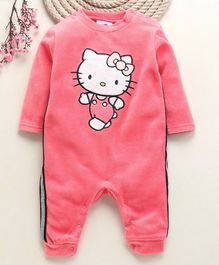 Fox Baby Full Sleeves Romper Hello Kitty Embroidery - Pink