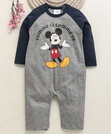 Fox Baby Full Sleeves Romper Mickey Mouse Print - Grey Blue