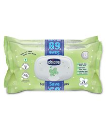 Chicco Baby Moments Bipack Fliptop Wipes Pack of 2 - 144 Pieces