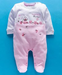 Wonderchild Flower Embroidered Full Sleeves Footie Romper - Light Pink