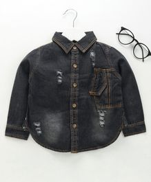 Lekeer Kids Full Sleeves Distressed Shirt - Black