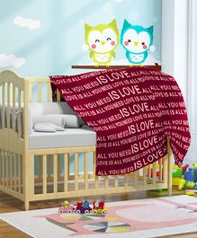 Pluchi All You Need Is Love Knitted Cotton Baby Blanket - Red