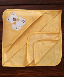 Child World Solid Color Teddy Patch Hooded Towel - Golden