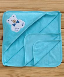 Child World Solid Color Teddy Patch Hooded Towel - Turquoise Blue