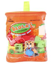 Building Blocks Set With Carry Bag Multicolour - 57 Pieces