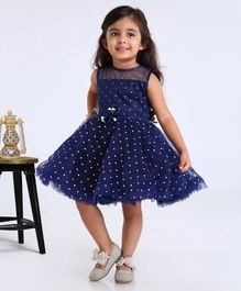 Babyhug Party Wear Sleeveless Frock With Flower Applique - Blue