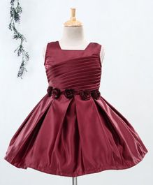 Babyhug Sleeveless Party Wear Pleated Frock Floral Motifs - Maroon