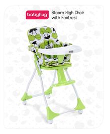 Babyhug High Chair with Foot Rest - Green