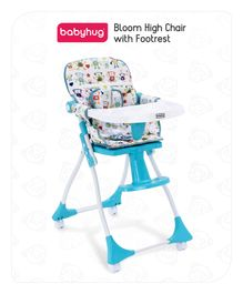 Babyhug High Chair with Foot Rest - Blue