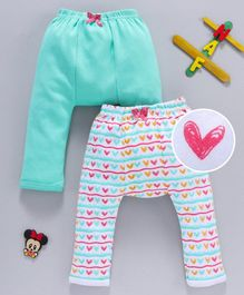 Babyhug Full Length Diaper Leggings Heart Print Pack of 2 - Sea Green