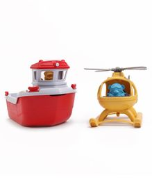 Green Toys Rescue Boat & Helicopter - Red & Yellow