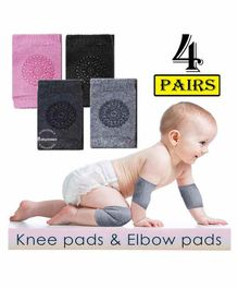Babymoon Anti Slip Baby Protector Knee Caps Set of 4 - Multicolour