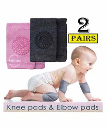 Babymoon Anti Slip Baby Protector Knee Caps Set of 2 - Pink Grey