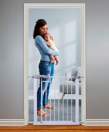 Walk Through Safety Gate With Magnetic Lock - White Grey