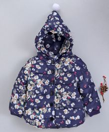 The Sandbox Clothing Co Flower Printed Full Sleeves Hooded Jacket - Blue