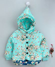 The Sandbox Clothing Co Flower Printed Full Sleeves Hooded Jacket - Light Blue
