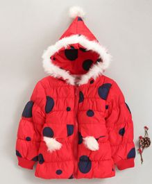 The Sandbox Clothing Co Dots Printed Full Sleeves Hooded Jacket - Red