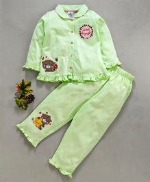 Ollypop Full Sleeves Night Suit Bear Embroidery - Light Green