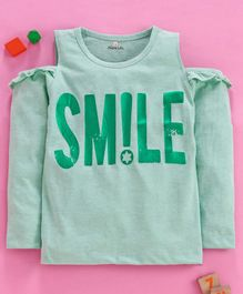 Olio Kids Full Sleeves Cold Shoulder Top Smile Print - Green