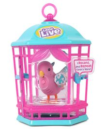 Little Live Pets Snow Gleam Songbird With Cage - Blue & Pink