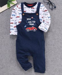 Babyhug Dungaree With Full Sleeves Inner Tee Cars Print - White Navy Blue