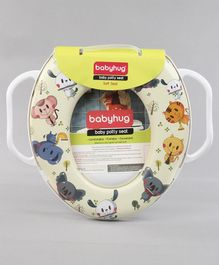 Babyhug Soft Potty Seat With Handle Animal Print - Cream