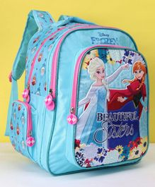 Disney Frozen Beautiful Sisters Soft  School Bag Blue - 14 Inches