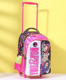 Barbie Flap School Bag Black Pink - Height 16 inches