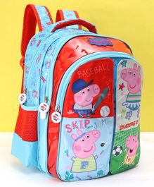 Peppa Pig School Bag With Flap Red Blue - 14 Inches