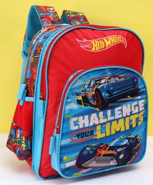 Hot Wheels Challenge School Bag Blue Red - 14 Inches