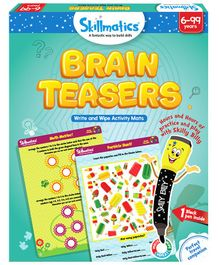 Skillmatics Brain Teasers Write & Wipe Activity Game - Multicolor