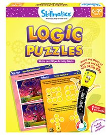 Skillmatics Logic Puzzles Write & Wipe Activity Game - Multicolor