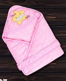 1st Step Hooded Wrapper Star Patch - Pink