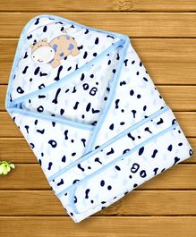1st Step Hooded Wrapper Hippo Patch - Blue