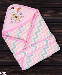 1st Step Hooded Wrapper Bear Patch - Pink