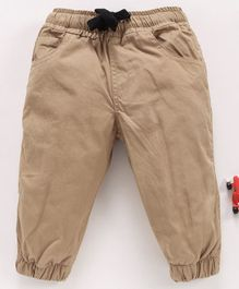 Cucumber Full Length Pant With Drawstring - Beige