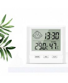 Syga Digital Hygrometer & Thermometer With Time Display - White