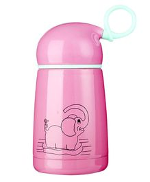 Syga Insulated Steel Water Bottle Elephant Print Pink - 300 ml
