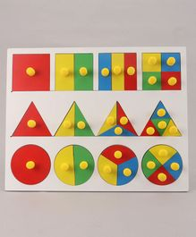 Little Genius Wooden Fraction Board With Big Knob - Multicolor